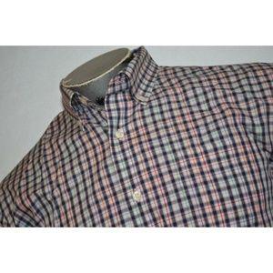 5965 Mens johnnie-O Dress Shirt Shirt Blue Plaids